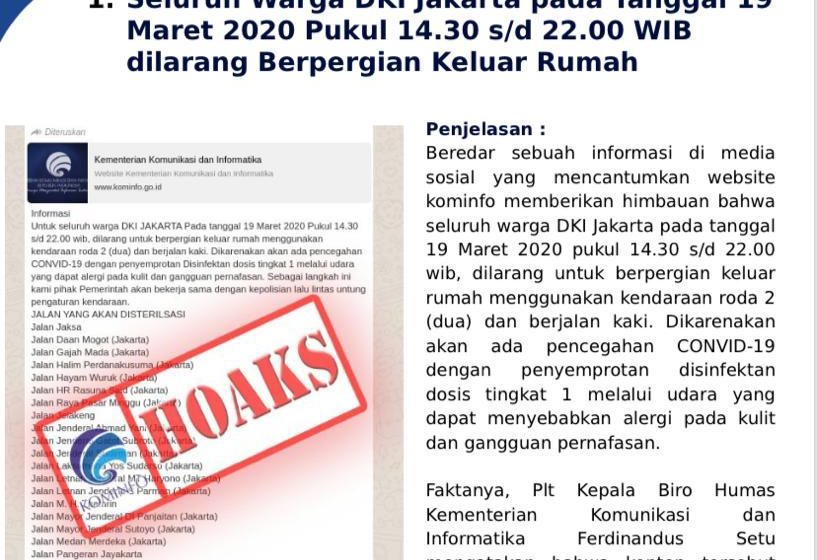 Kominfo Bantah Kabar Hoaks tentang Sterilisasi Jalan di DKI Jakarta