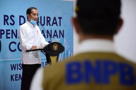 Presiden Jokowi usai meninjau kesiapan Wisma Atlet sebagai RS penanganan Covid-19, Senin (23/3/2020). Foto : Setkab RI