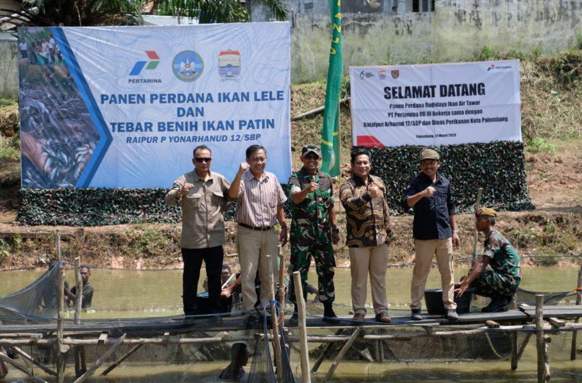 Program CSR Pertamina Bersama Batalyon Arhanud 12/SPB Panen Lele dan Patin Perdana
