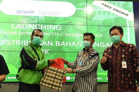Penandatanganan kerjasama Kementan dan PT Aplikasi Karya Anak Bangsa yang menaungi Gojek, di Kantor Pusat Kementerian Pertanian (3/4/2020). (Foto : Ist)