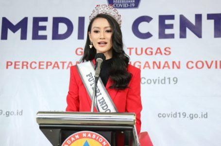 Putri Indonesia periode 2020, Roro Ayu Maulida Putri, datangi Kantor BNPB, Jumat (3/4/2020). (Foto : Humas BNPB)