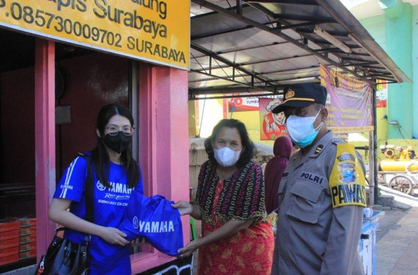 Dukung Polrestabes Surabaya Dalam Giat Patroli PPKM, Yamaha Jatim Salurkan Bantuan Sembako Bagi Warga Terdampak PPKM