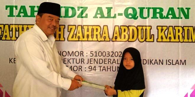 Fathiyyah Zahra Kembali Dapat Penghargaan 8 Juz Tahfidz Al-Qur'an Dari Kementrian Agama Kabupaten Sukabumi